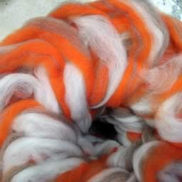 202 Candy Cane Orange Waione Wool Carding